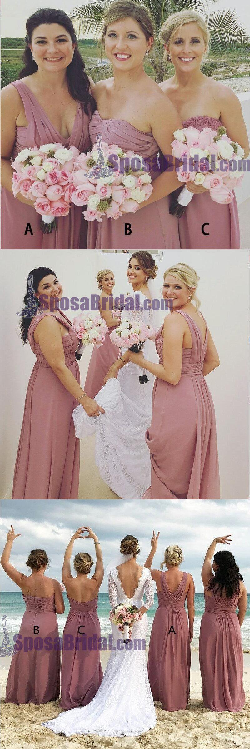 Aline long dusty pink chiffon cheap modest sexy unique soft elegant