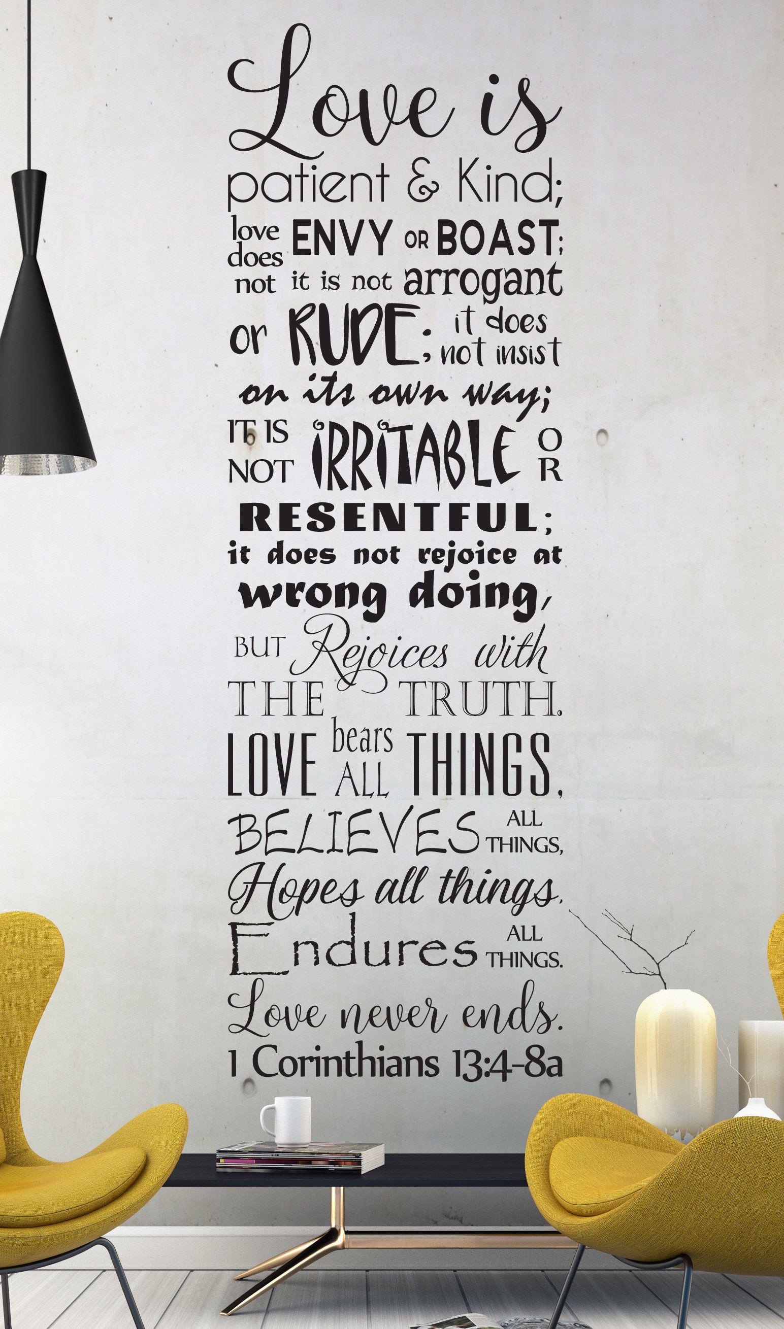 Vinyl Wall Art Decal 1 Corinthians 13 4 8 Love Is Etsy Love Is Patient Vinyl Wall Art Decals Vinyl Wall Decals