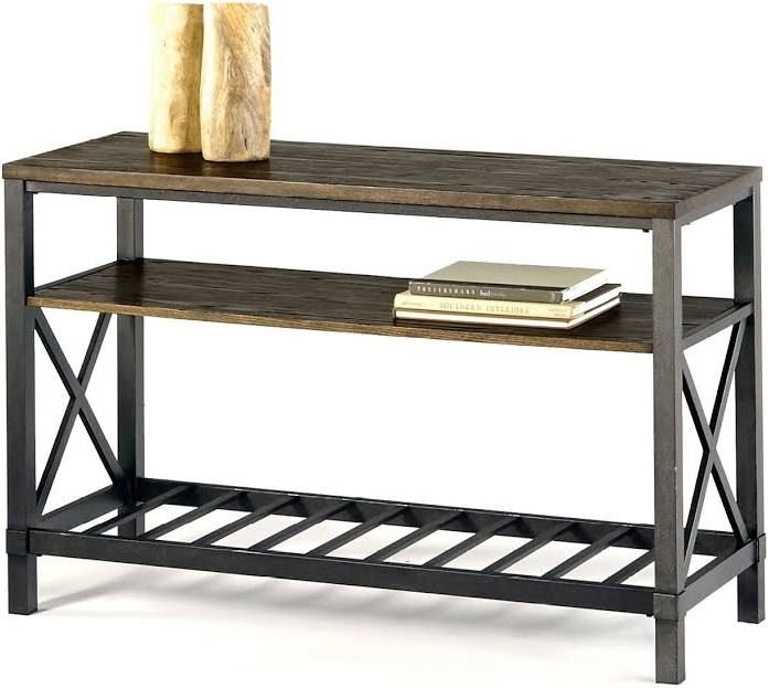 wood metal industrial console table with wheels Gateway furniture