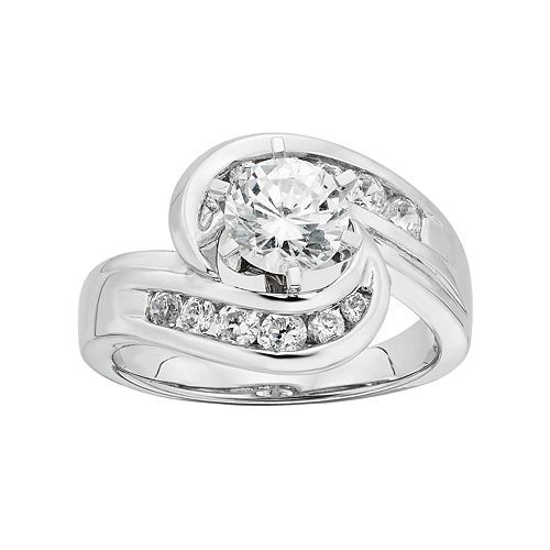 DIAMONORE Simulated Diamond Bypass Engagement Ring in Sterling Silver (1 1/2 Carat T.W.)