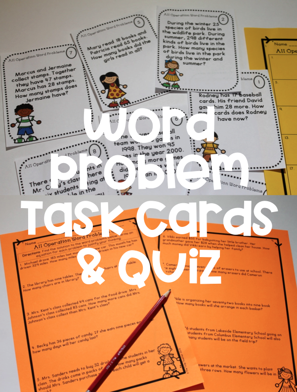 Word Problem Task Cards & Quiz {Addition, Subtraction