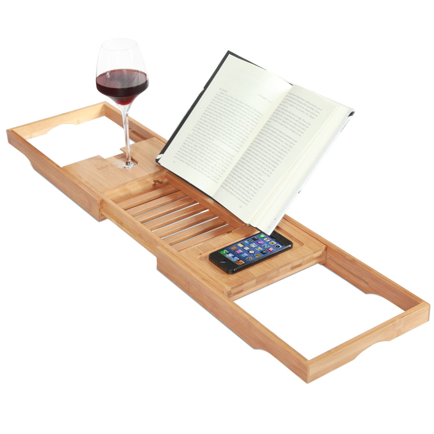 Exceptionnel Expandable Deluxe Bamboo Bathtub Caddy With A Bar