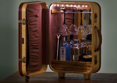 One Of A Kind A 1950u0027s Era Suitcase Repurposed Into A Tabletop Martini Bar  | EBay