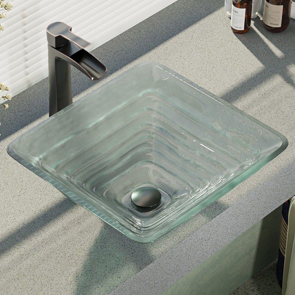 Rene by elkay rr glass vessel sink with faucet sink