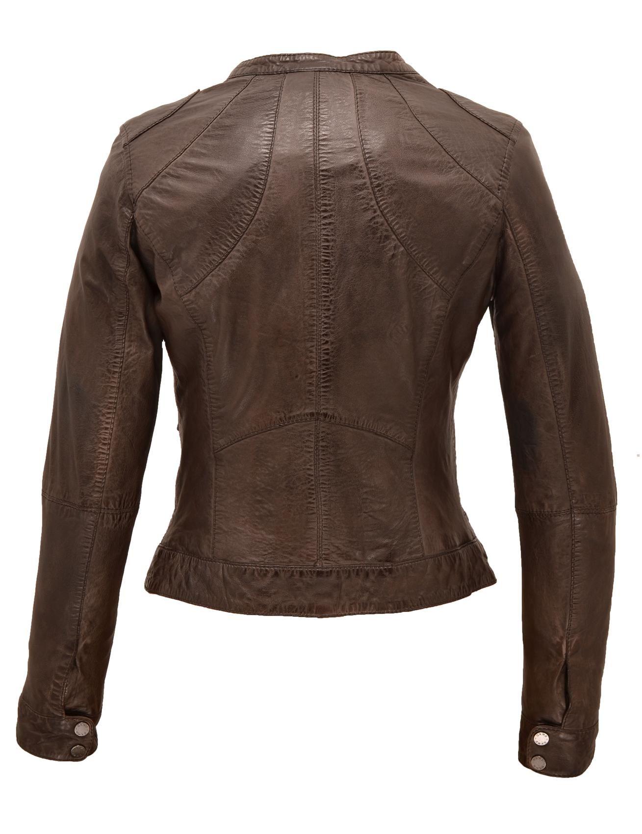 Manteau cuir femme gris
