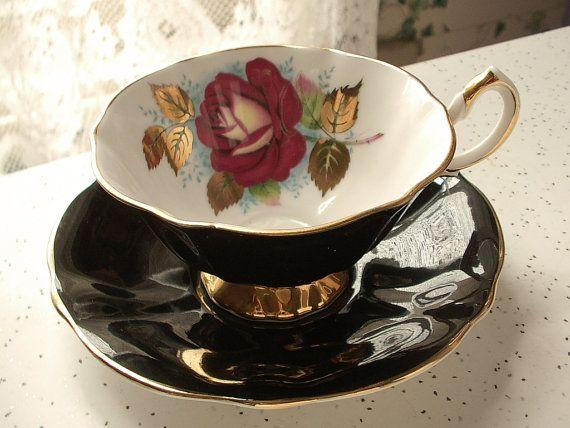 Antique red rose tea cup and saucer set vintage