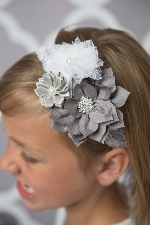 Grey flower headband, ivory elastic headband, baby headband, bridal hair accessories, flower girl he #brautblume