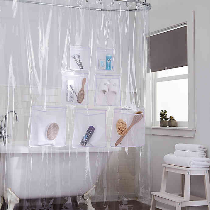 Stuffits Vinyl Shower Curtain With Mesh Pockets In Clear Bed