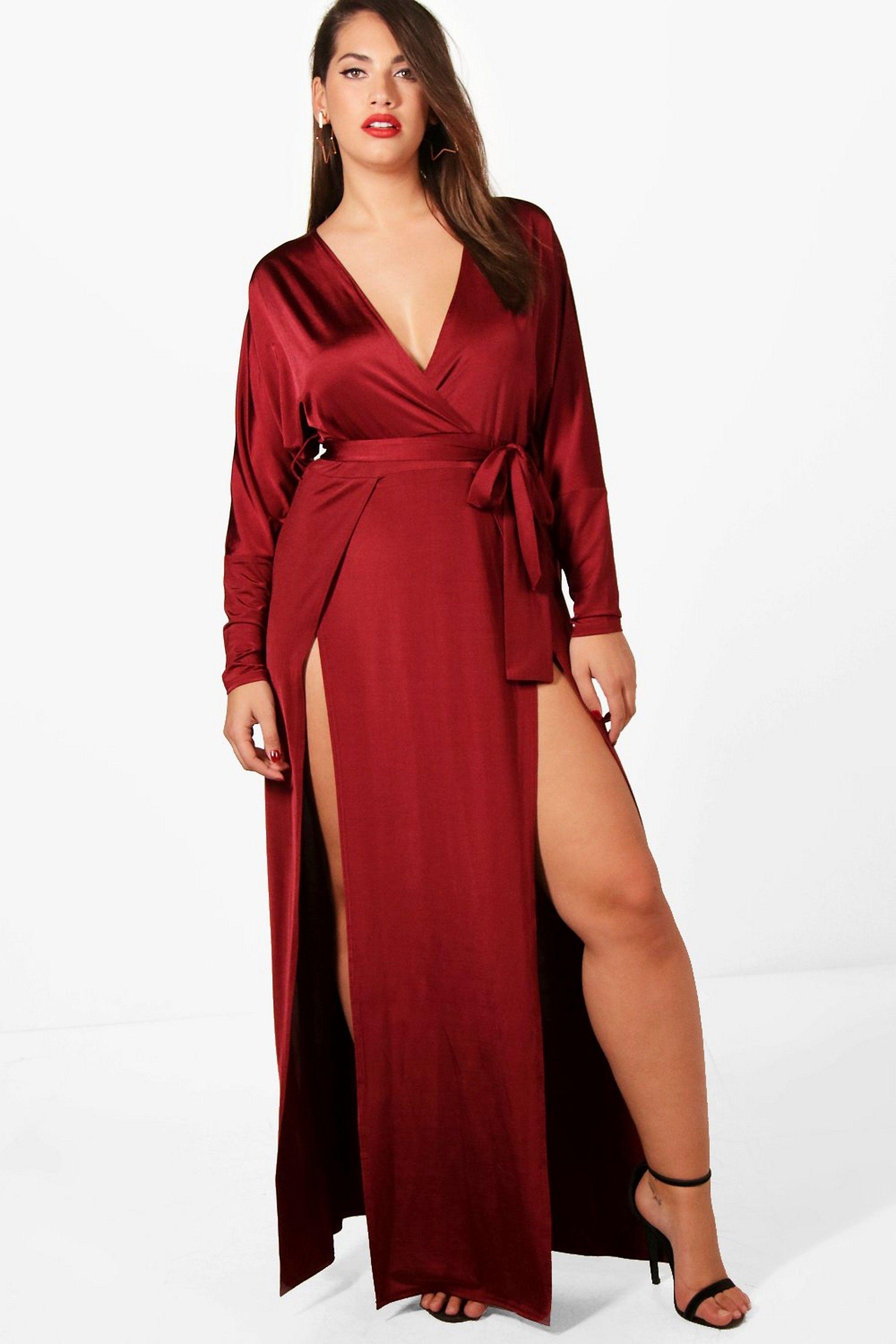 839901ea05 Plus Slinky Plunge Split Maxi Dress in 2019 | Clothing Closet | Plus ...