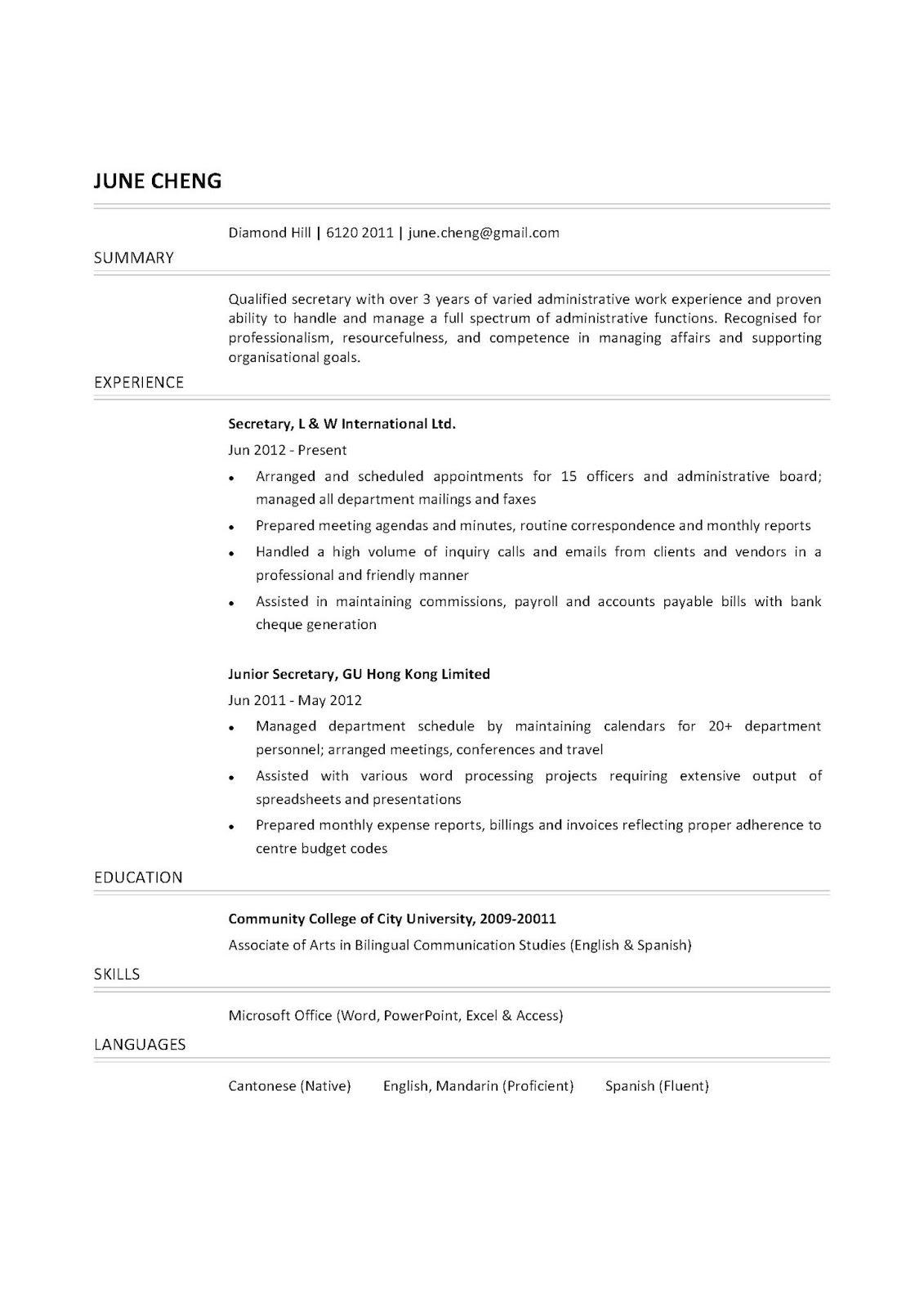 Secretary Resume Examples 2019 Free Resume Templates Secretary 2020