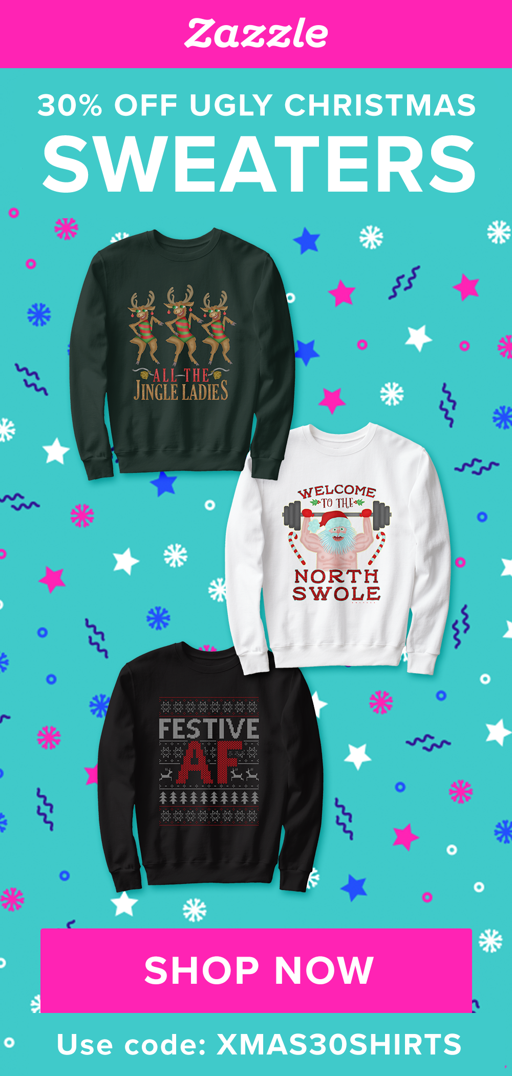 Get 30% off Ugly Christmas Sweaters now through Sunday, November 15 with code XMAS30SHIRTS. Choose from hundreds of designs including funny, cute, or political designs.