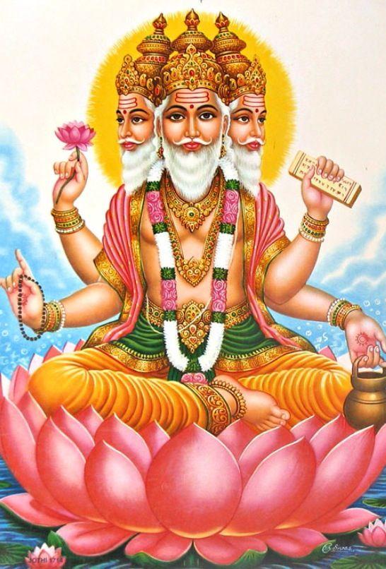 Calendar Art Of Hindu Gods : Brahma god of creation and the universe mind me you
