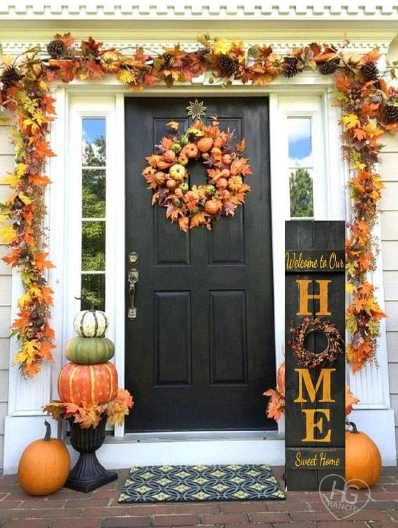 Fall HOME Porch Welcome Wood Sign 5' Reversible Option Pip Berries Personalized Hand Painted