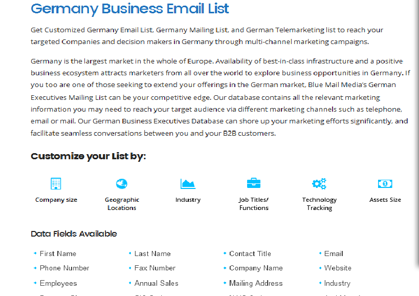 Germany Email List - German Business Mailing List - B2B