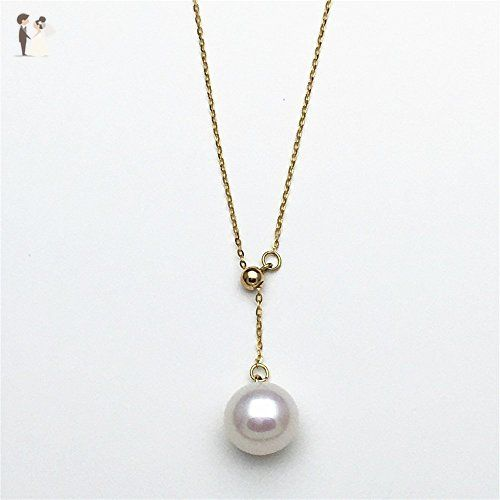 """18K Yellow Gold Necklace Freshwater Pearl Necklace White Round Pearl Pendant Necklace 18"""" Y-Shaped Chain Necklace - Bridesmaid gifts (*Amazon Partner-Link)"""