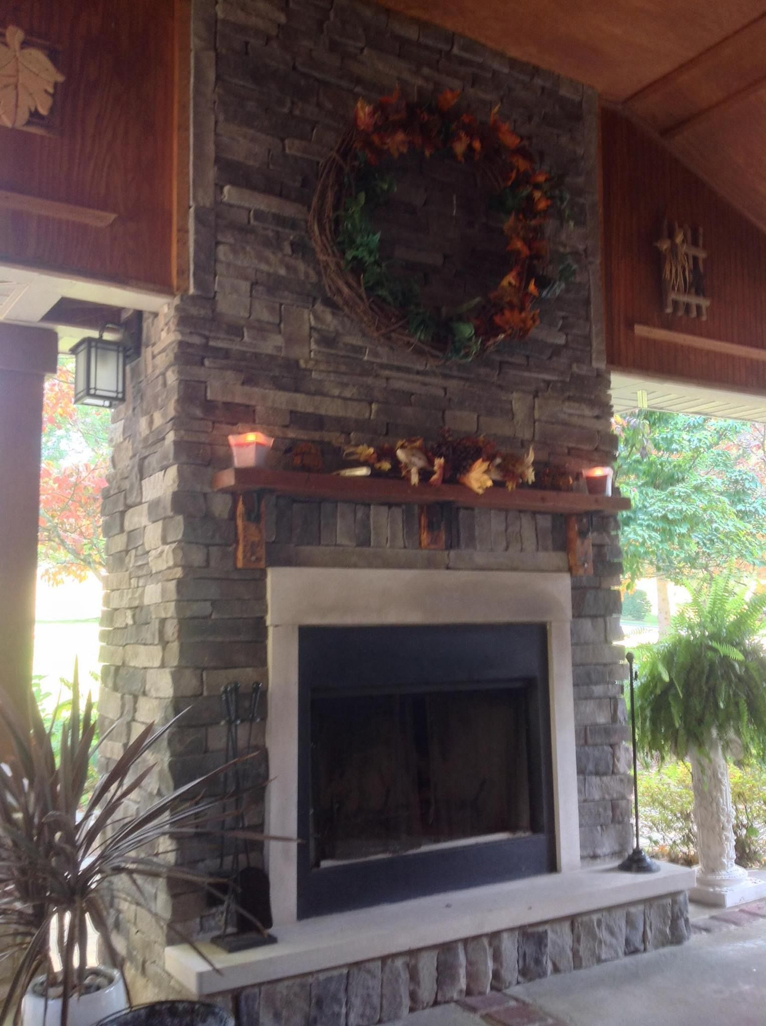 Side Porch Fireplace Fall Decor Pinterest