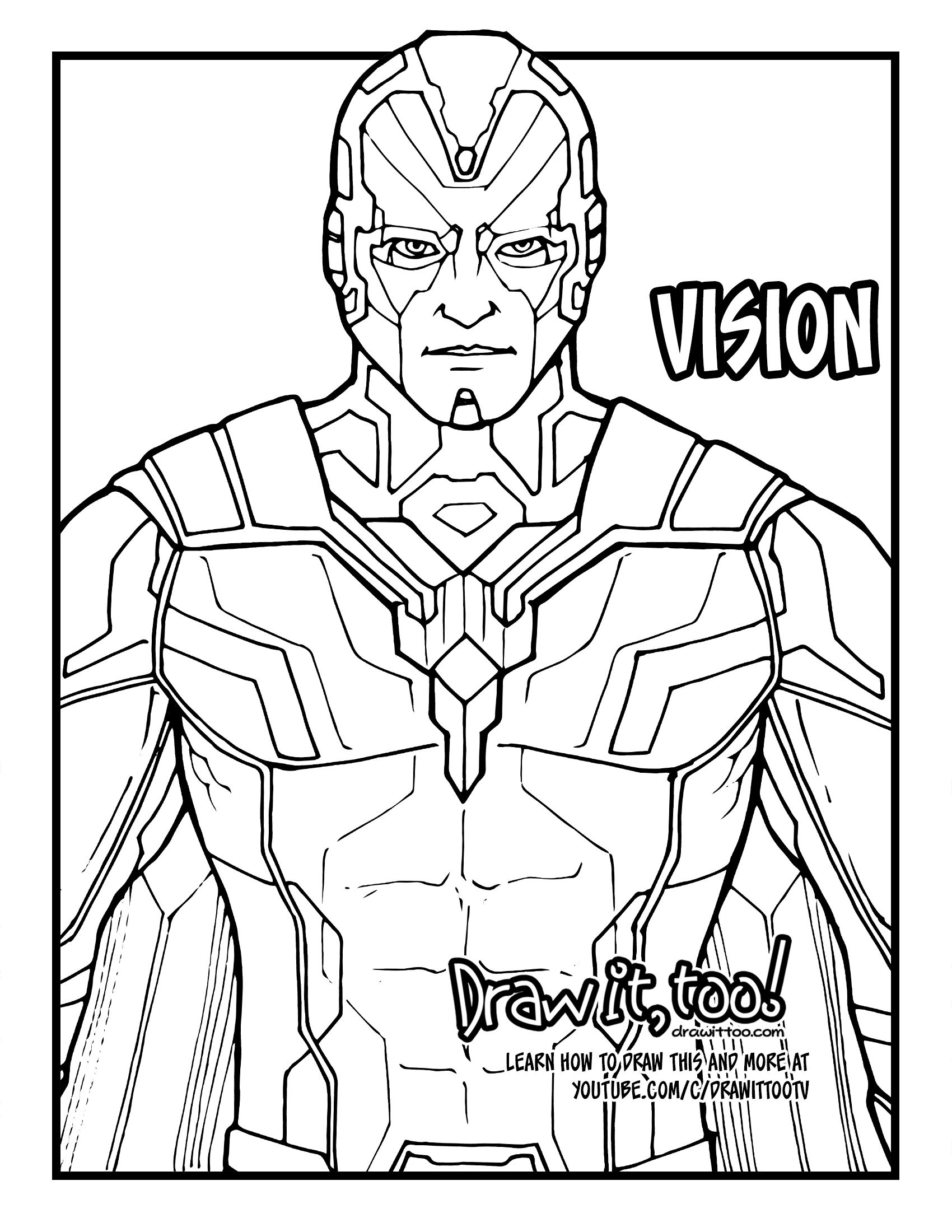 How To Draw Vision Avengers Infinity War Drawing Tutorial Draw It Too In 2021 Avengers Coloring Pages Marvel Coloring Vision Avengers