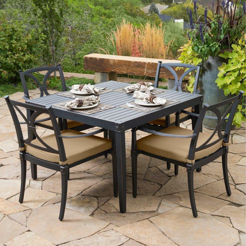 Astoria 5-Piece Metal Patio Dining Furniture Set - Beige