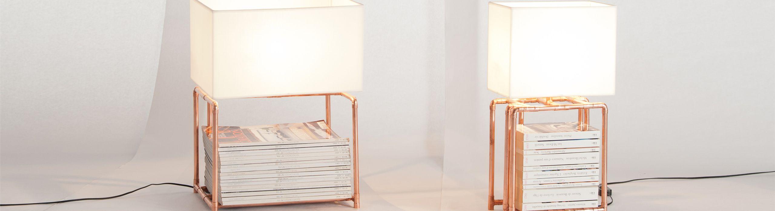 Lampe en cuivre avec rangement pour magazines - Akii Kollections