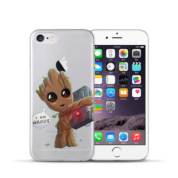 14959f4f904 Baby Groot Guardians of the Galaxy Super Hero Cartoon Raccoon Comics Clear  Soft TPU Case For iPhone