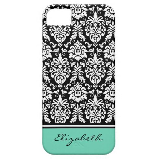 Custom Name Mint Black White Damask Case For iPhone 5/5S.  Elegant, feminine, classic black and white floral damask pattern with a mint green border with custom personalized name.