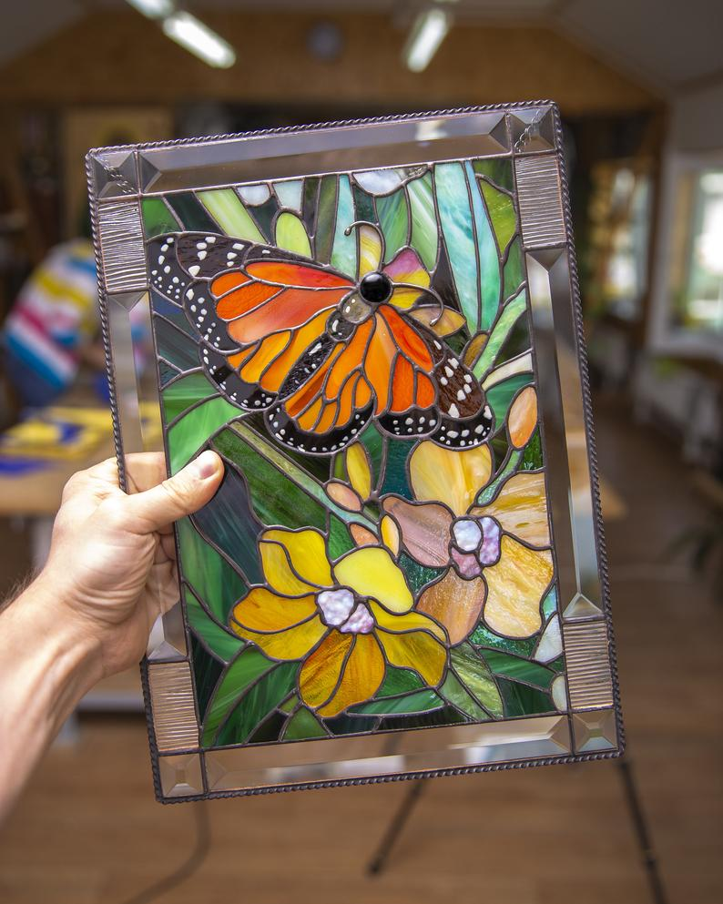 Monarch Butterfly Wall Art Custom Stained Glass Panel Parent Etsy Glass Painting Patterns Stained Glass Flowers Stained Glass Diy