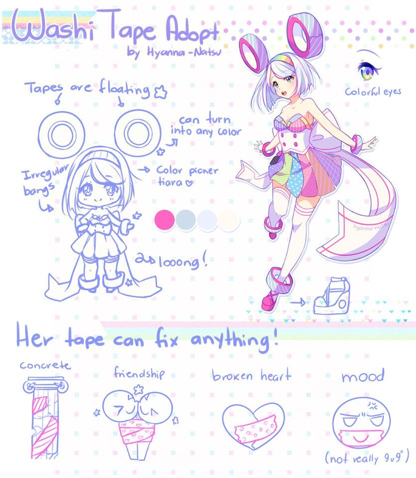 Closed Washitape Adopt By Hyanna Natsu Deviantart Com On Deviantart Cute Art Character Design Anime Drawings