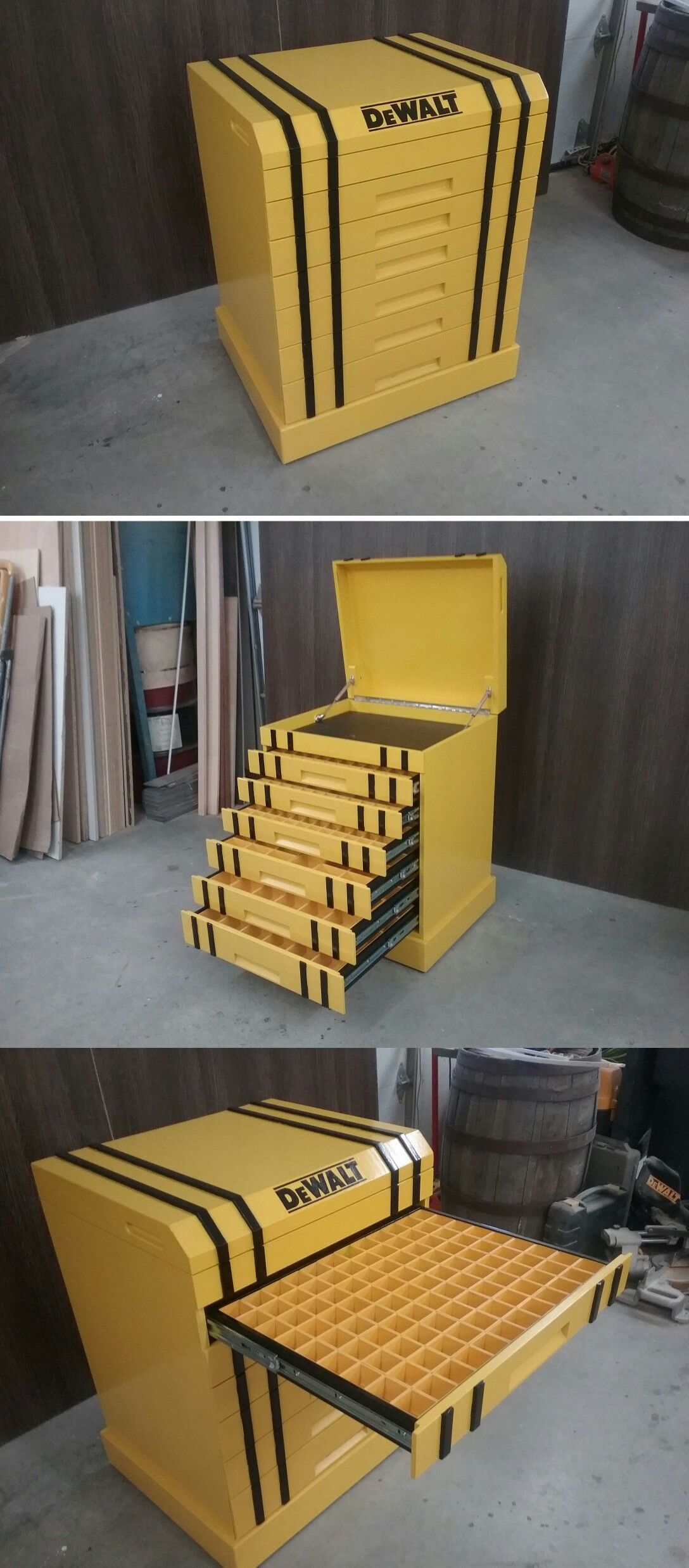 Garage Storage Boxes Dewalt Cabinet Storage Tools And Parts Storage Werkstatt