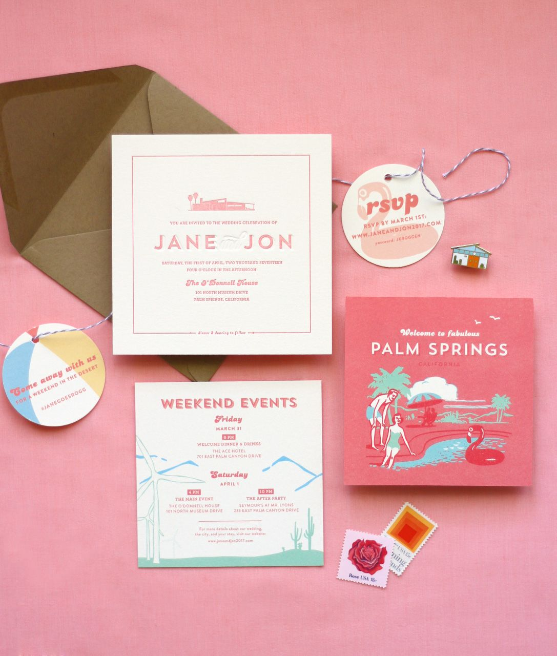 are labels on wedding invitations tacky%0A Retro midcentury Palm Springs wedding invitation with beach ball and  flamingo accents  Letterpress