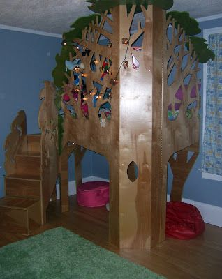 Tree House Bunk Bed Decorated With Butterfly Lights And Birds