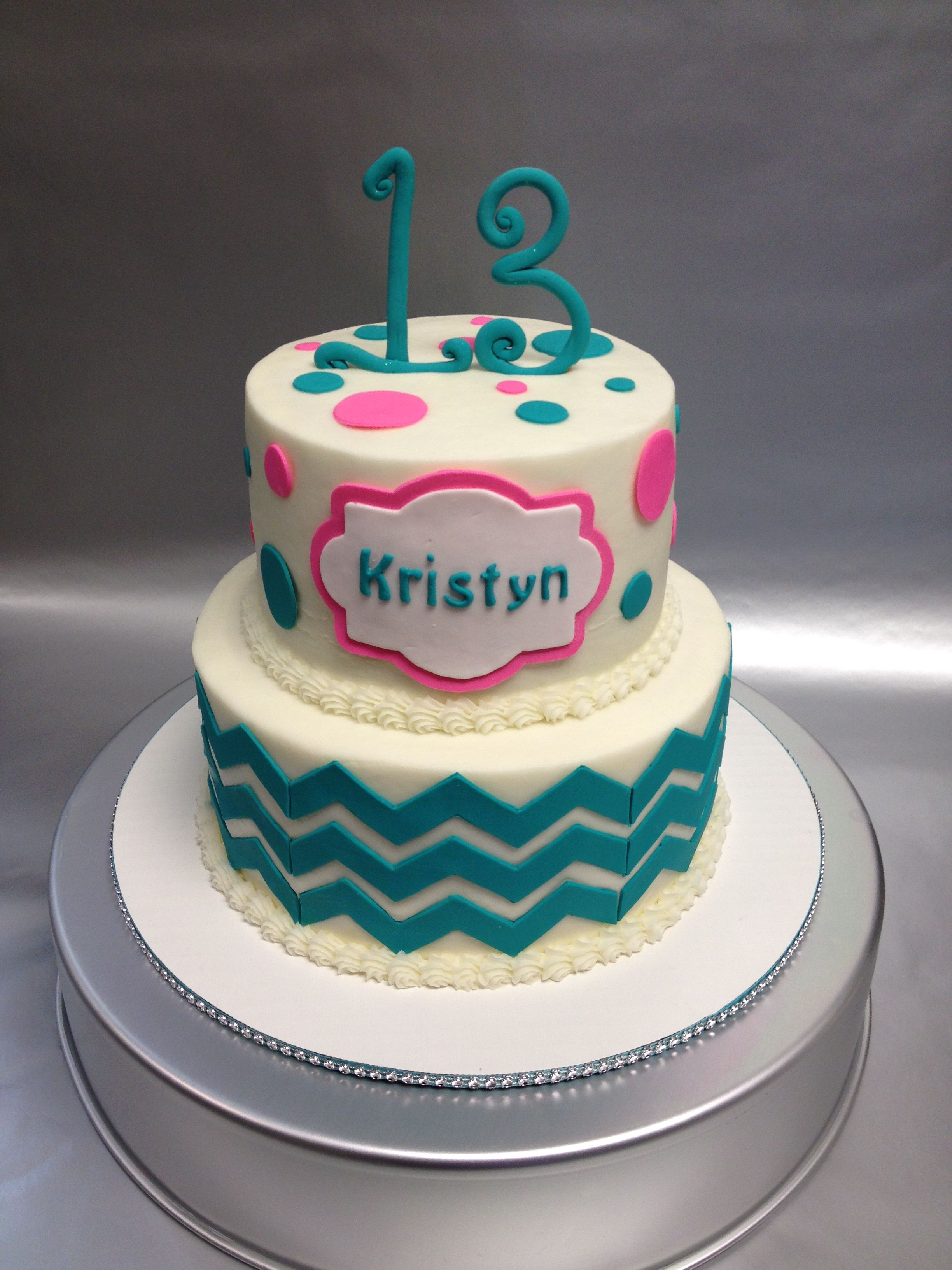 A Pretty 2 Tiered Gluten Free Birthday Cake Design For 13 Year Old