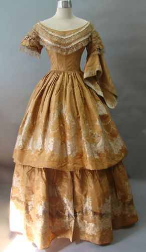 """1850's Victorian Gown """"a la disposition"""" with Original Pagoda Sleeves & Pelerine. I would so wear this"""