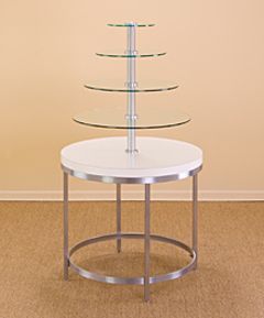 Round Display Table W 4 Tier Glass Floating Glass Shelves Cleaning Glass Glass Shelves