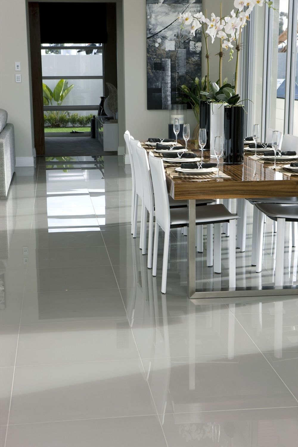 Black Gloss Porcelain Floor Tile 600x600mm Modern