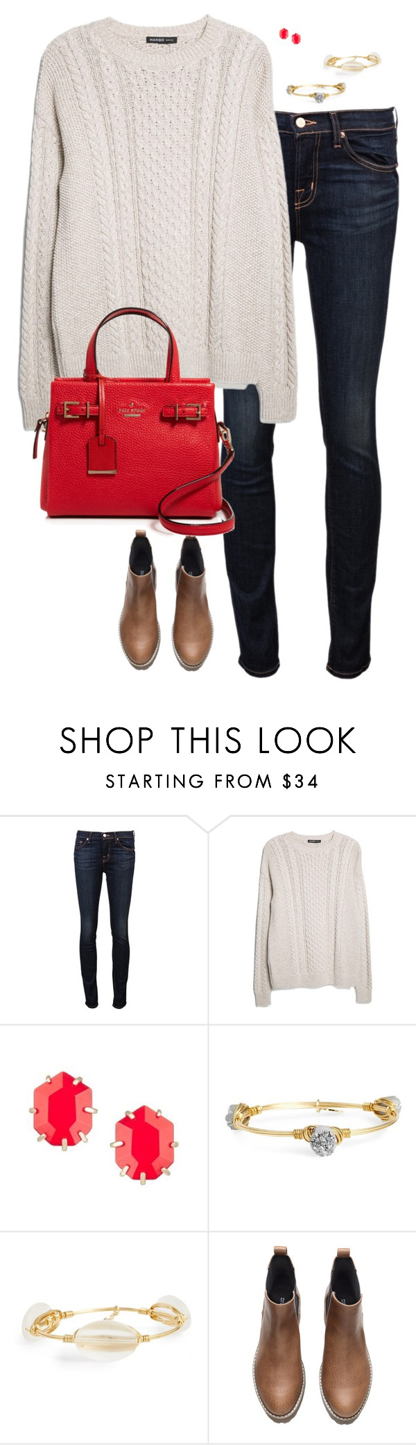 """""""Thankful Spirits..."""" by sc-prep-girl ❤ liked on Polyvore featuring J Brand, MANGO, Kendra Scott, Bourbon and Boweties, H&M and Kate Spade"""