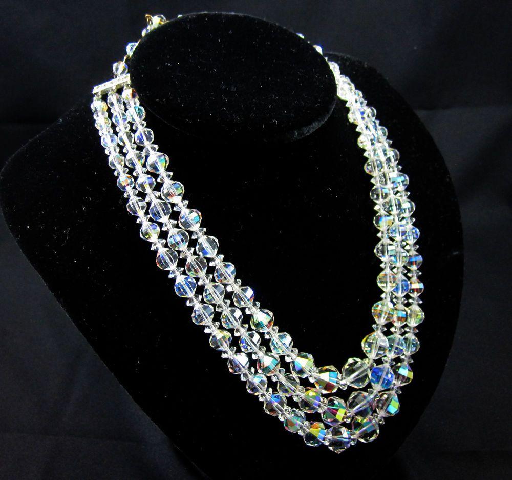 Crystal vintage necklace triple strand 12 13 15 inch
