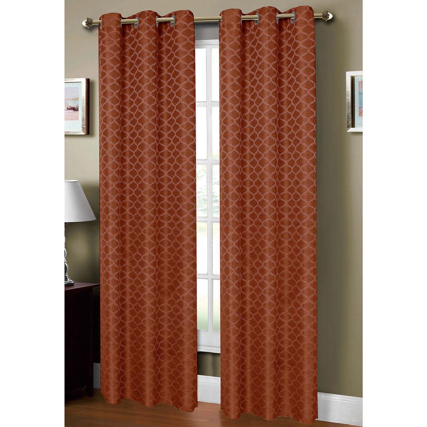 Sonata Woven Lattice Jacquard Extra Wide Grommet Single Curtain Panel  Extra Wide Curtain Panels