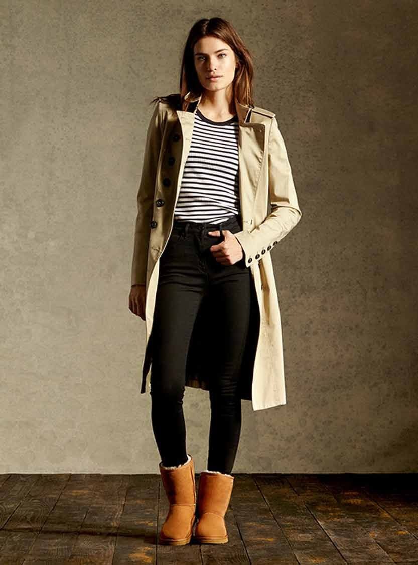 Classic Short is an icon of casual style UGG Nude trench, black pants, neutral palette to match the boots