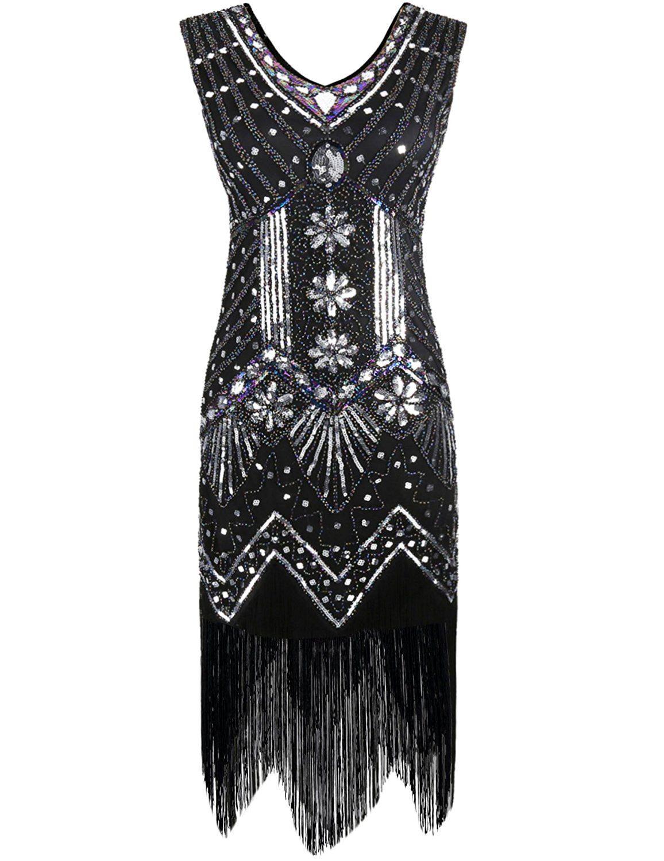 PrettyGuide Women\'s 1920s V Neck Beaded Sequin Art Deco Gatsby ...