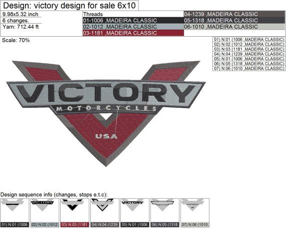 Victory Motorcycle Logo Embroidery Design With Images