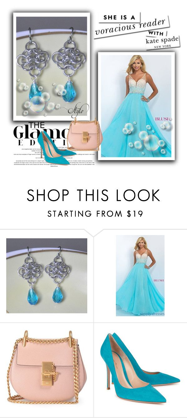 """""""Dangle chain maille earrings"""" by jewelrybyirina ❤ liked on Polyvore featuring Blush Prom, Chloé, Gianvito Rossi and Kate Spade"""