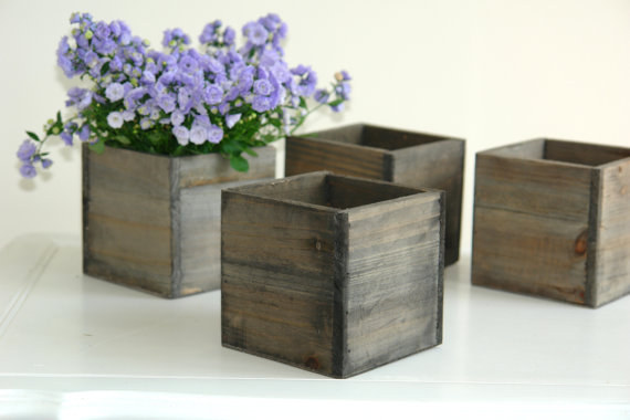 Small Wood Box Woodland Planter Flower Rustic Pot Square Vases For Wedding Wooden Bo Chic