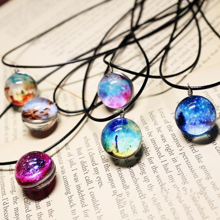 SONGBB necklace Galaxy Planet Gemstone Necklace Alloy Glass Pendant