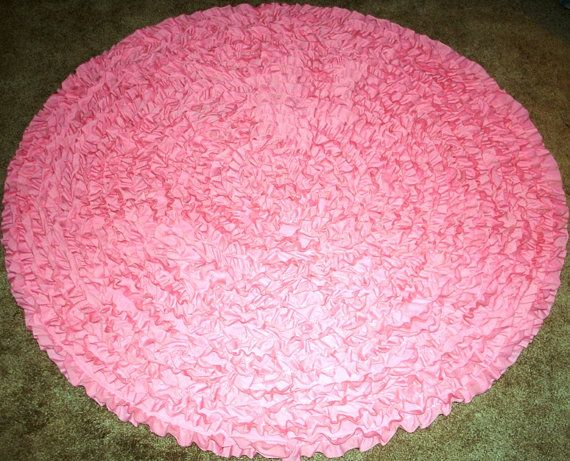PinkRound Rug 5',NurseryRug,KidsRug, BabyRug,Children'sRug, RuffledRug, PrincessRug, BoyGirlRugShagRug, ShagRagRug,