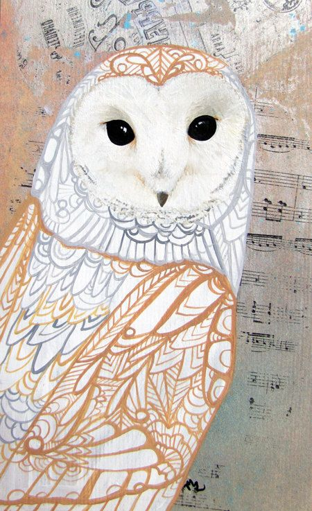 Barn Owl Zentangle Art Greeting Card - Notecard - Valentines - Blank - Birthday. $4.00, via Etsy.