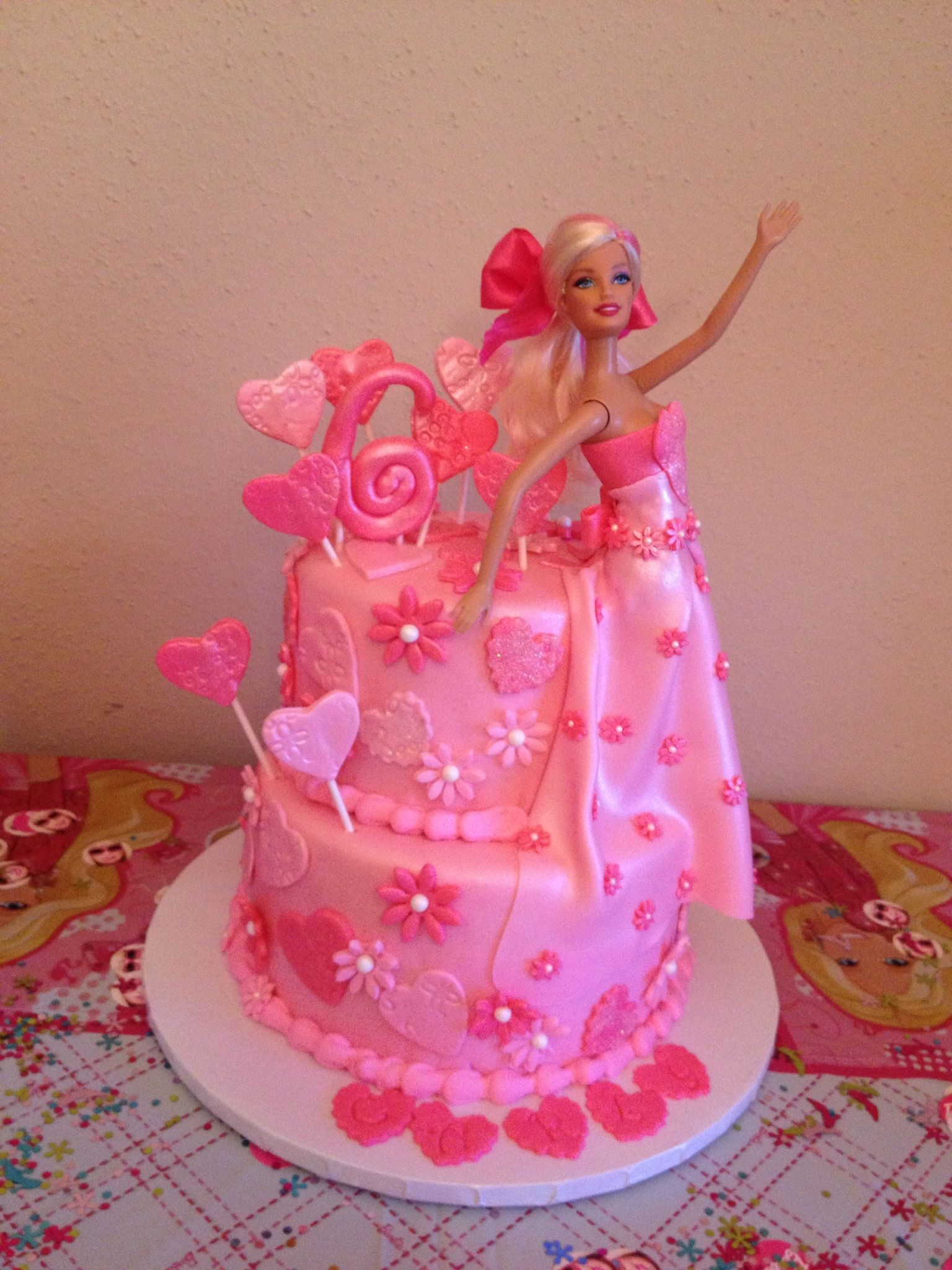 Pink Barbie Cake With Pink Hearts And Flowers With