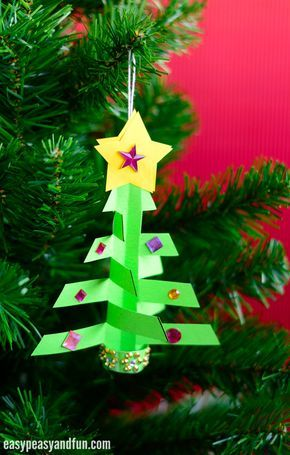 Simplest 3d Paper Christmas Tree Print Or Make With Construction Paper Easy Peasy And Fun Paper Christmas Ornaments Origami Christmas Ornament Christmas Tree Ornament Crafts