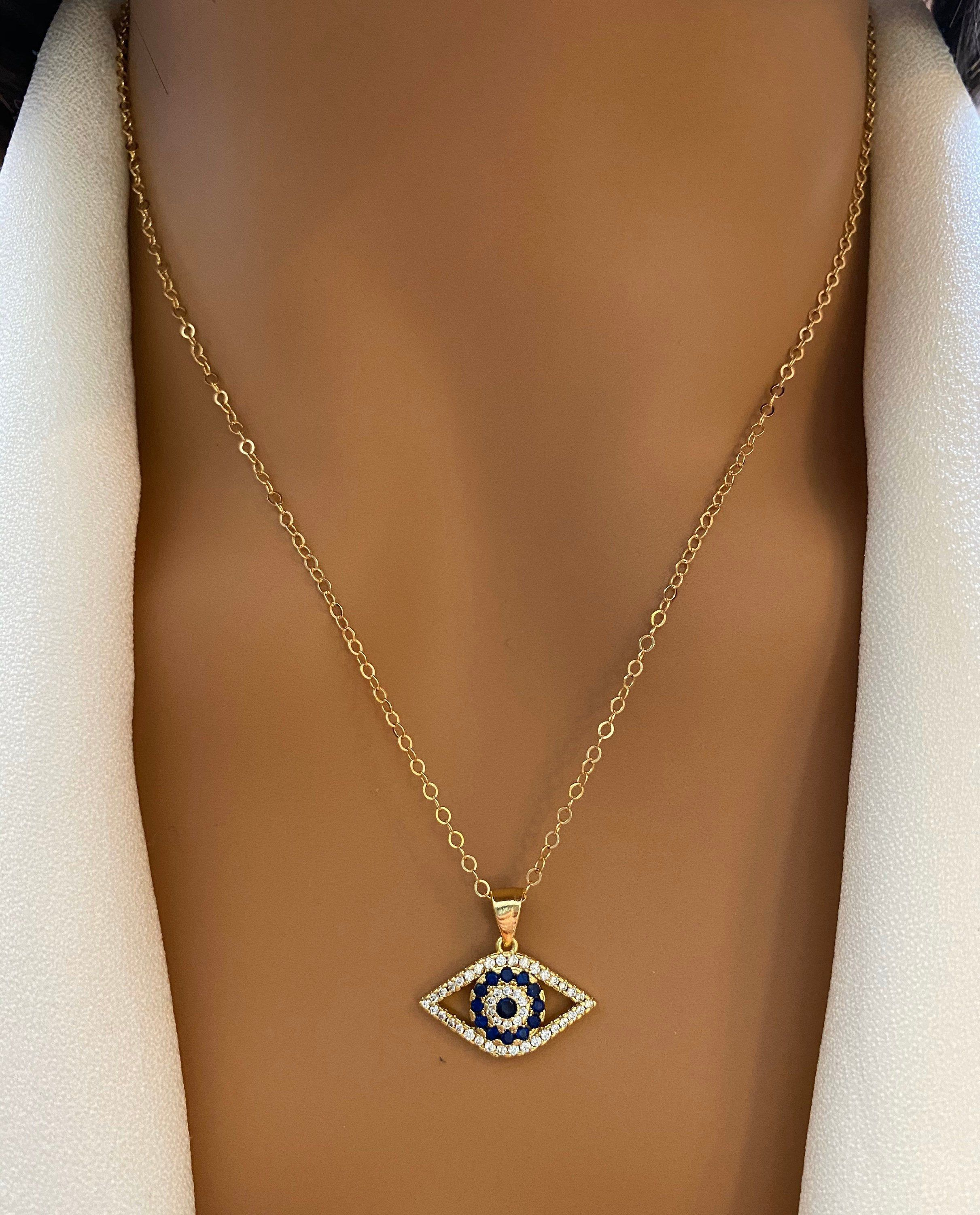Gold Necklace,Evil Eye Necklace,Cz zirconia,Turquoise gemstones,Turquoise Necklace,Protection,Good Luck,Bridal Jewelry,Birthday,Women Gift