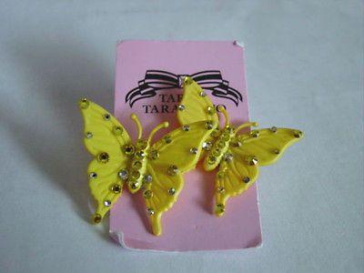 TARINA TARANTINO ICONIC LUCITE & CRYSTAL YELLOW BUTTERFLY POST EARRINGS - http://elegant.designerjewelrygalleria.com/tarina-tarantino/tarina-tarantino-iconic-lucite-crystal-yellow-butterfly-post-earrings/