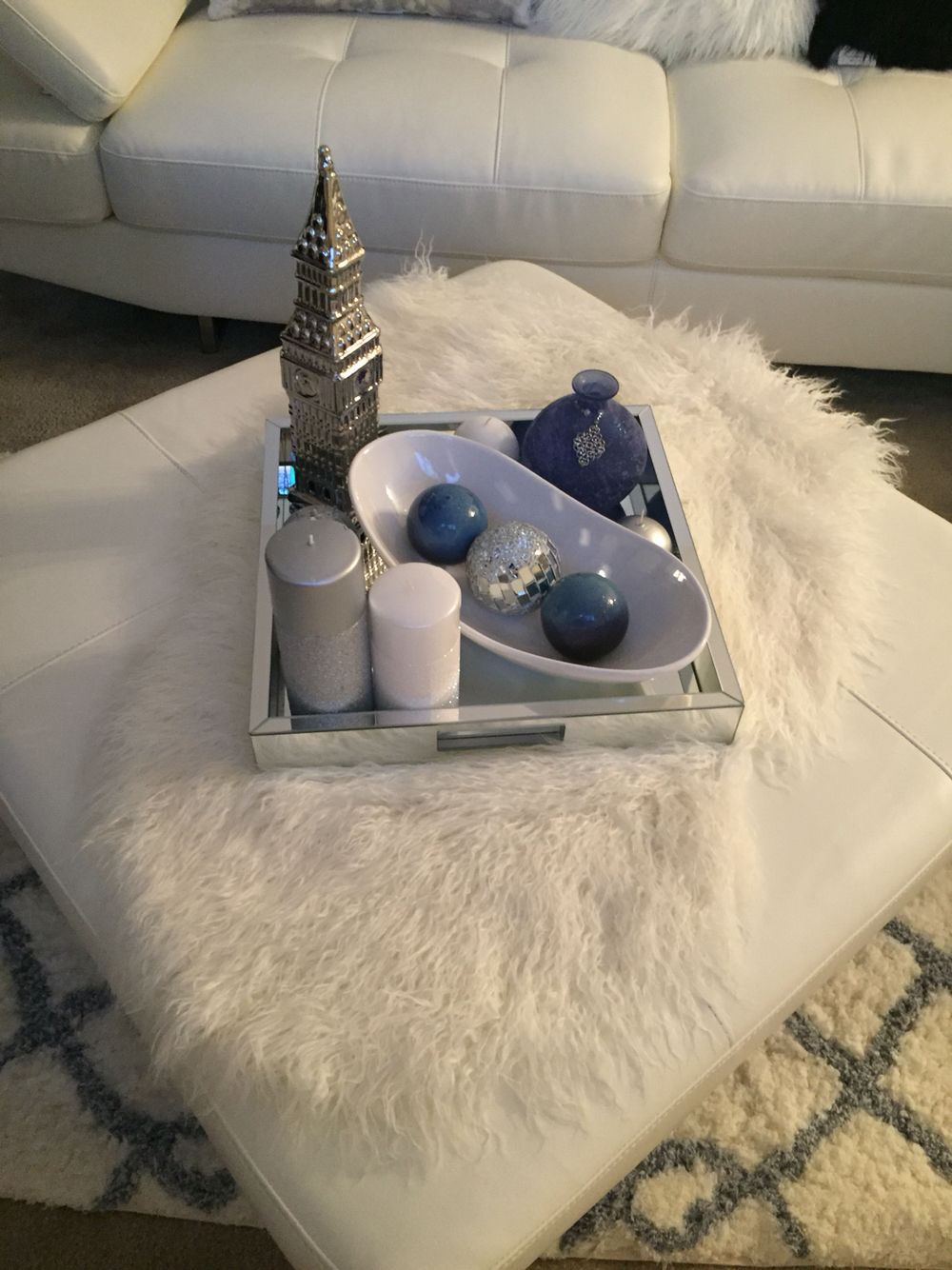 Serving Tray On Ottoman Candles Ottoman In Living Room Ottoman Decor Ottoman Tray Decor [ 1334 x 1000 Pixel ]
